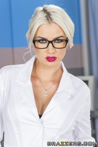 nerdy blonde doctor black