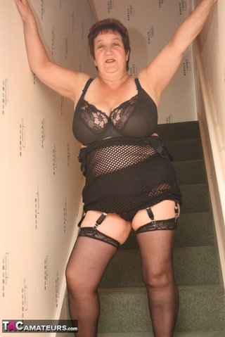 chubby granny black fishnet