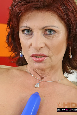 redhead grandma blue top