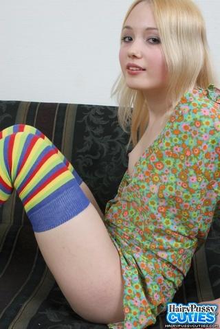 pierced tongue blonde striped