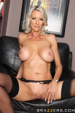 blonde milf blue black