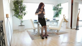 grey lingerie stocking redhead