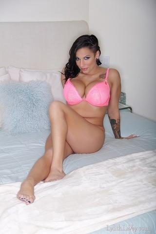 pink lingerie tatted-up brunette