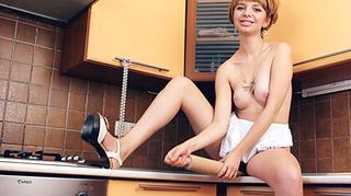 high heeled brunette white