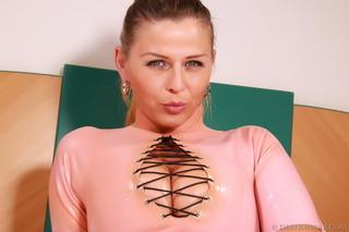 tight pink latex bodysuit