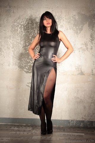 black latex dress brunette