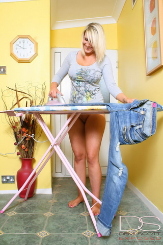 thick blonde ironing her