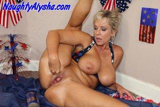 patriotic blonde whore wearing