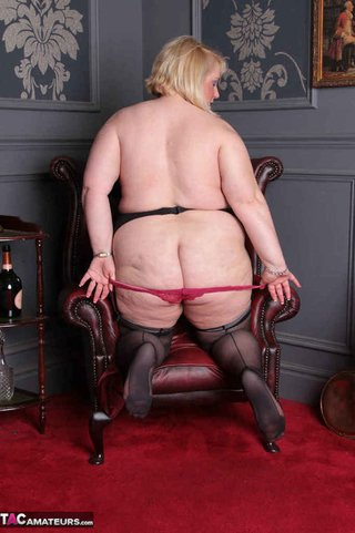 plump blonde black stockings