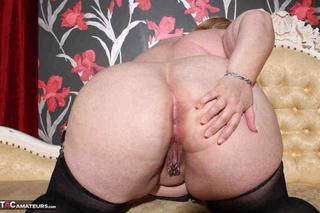plump blonde black stockings