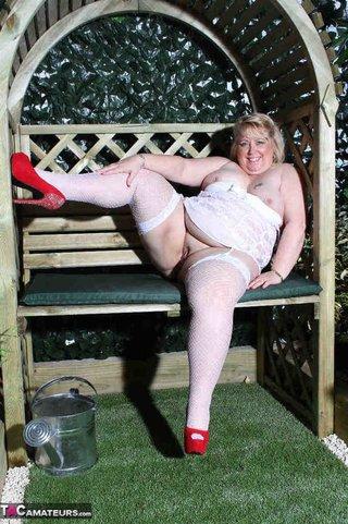blonde plumper teasing outdoors