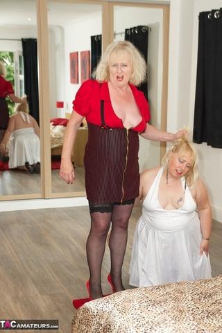 plump blonde white dress