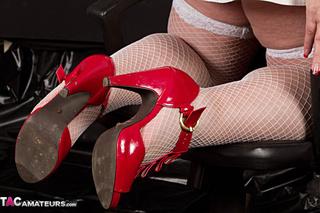 big blonde red heels