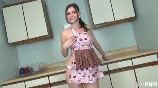 naughty bitch naked kitchen