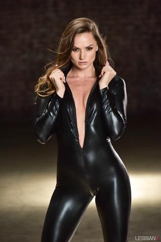small-tit goddess black leather