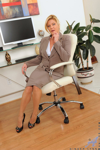 blonde office milf cums