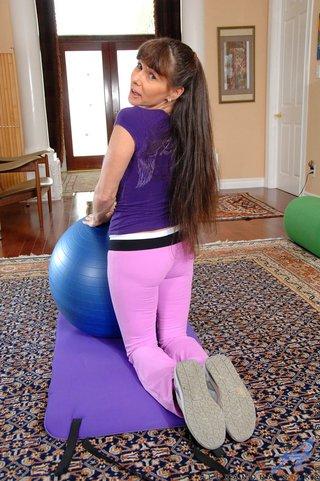 brunette, mature, slut, yoga