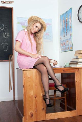 blonde teen stockings