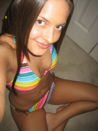 colorful bikini brunette teen