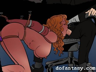 bdsm art, blowjob, tied, under table