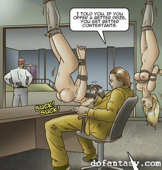 bald, bdsm art, lowjob, tied up