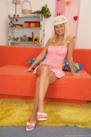 wearing pink heels squats