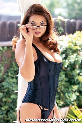 wearing black corset glasses