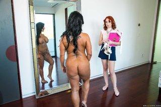 brunette lesbian stockings