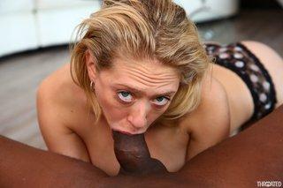 blonde interracial blowjob
