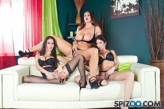 lesbian stockings brunette