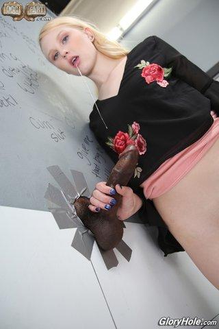 interracial blonde her knees
