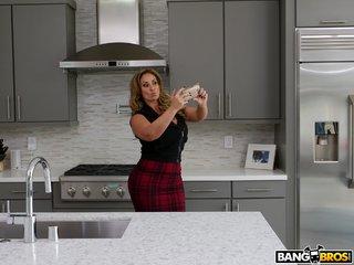 brunette mature kitchen