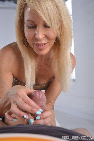blonde handjob Mature milf
