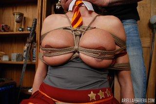 brunette tied