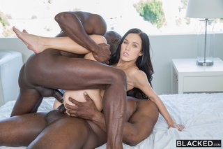 brunette interracial anal threesome