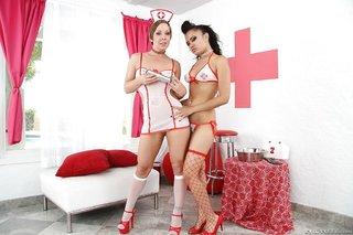 lesbian stockings creampie