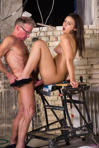 brunette old man fuck
