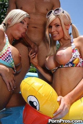 busty threesome pool