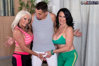 spandex threesome big tits