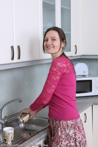 slender brunette housewife