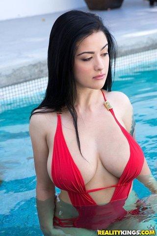american model pool handjob