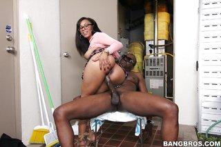 brunette ebony riding