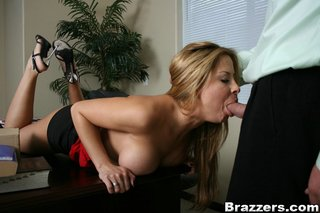 huge boobs secretary blowjob