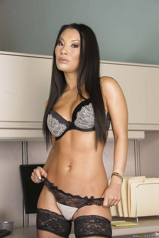 american brunette asian stockings