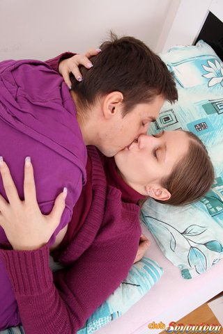 kissing big tits couple